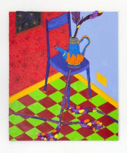 Giuseppe Mulas, Shh! You'll wake the flowers, 2020, Olio, spray, carboncino, pigmento puro su tela di lino, cm130x110
